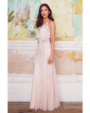 Lace & Beads Keeva Nude Maxi Dress
