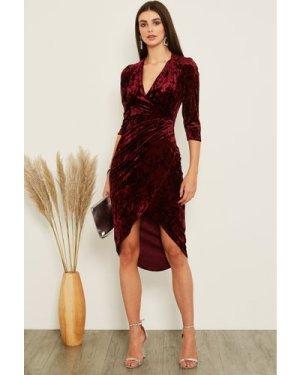 TFNC Jayda Burgundy Velvet Midi Dress