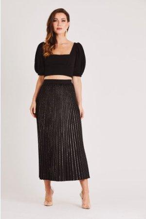 Skirt & Stiletto Sia Black and Gold Velvet Midi Skirt