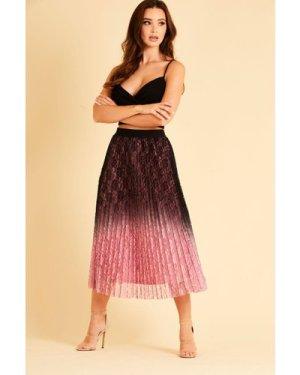 Skirt & Stiletto Vienna Black and Pink Midi Skirt