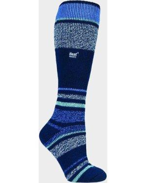 Heat Holders Women's Stripe Ski Sock, NAVY/NAVY
