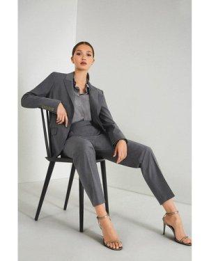 Karen Millen Polished Stretch Wool Blend Jacket -, Pale Grey