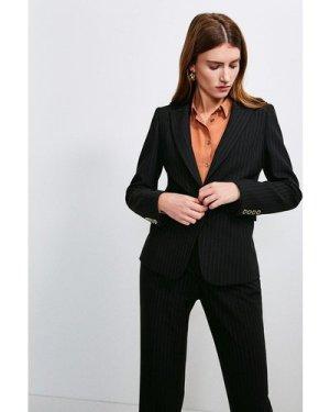 Karen Millen Pinstripe Fitted Jacket -, Black