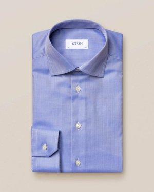 Mid Blue Herringbone Twill Shirt