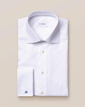 White Textured Twill Shirt – French Cuffs