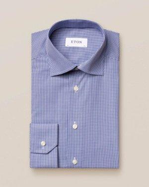 Mid Blue Check Poplin Shirt