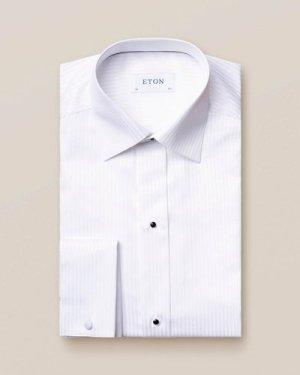 White Striped Satin Evening Shirt