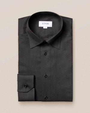 Black Wrinkle-Free Flannel Shirt
