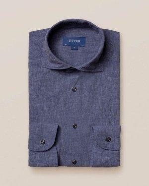 Blue cotton-linen shirt - soft
