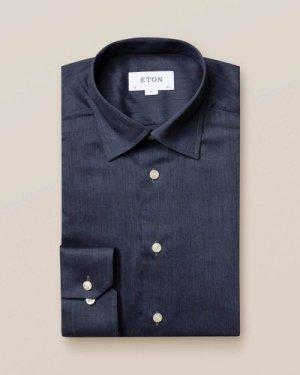 Dark Blue Herringbone Flannel Shirt