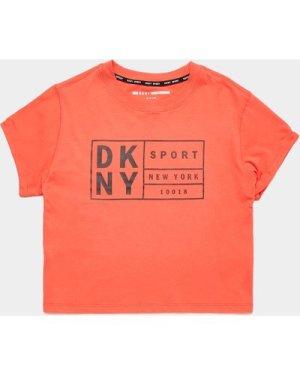 Women's DKNY Boxy Logo Short Sleeve Crop T-Shirt Orange, Orange