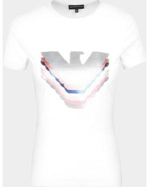 Women's Emporio Armani Multi Sequin T-Shirt White, White