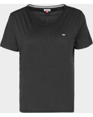 Women's Tommy Hilfiger Slim Crew T-Shirt Black, Black