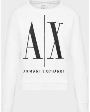 Women's Armani Exchange Icon Embroidered Sweatshirt White, White