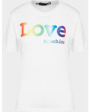 Women's Love Moschino Rainbow Logo T-Shirt White, White