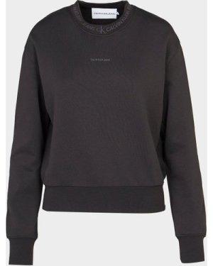 Women's Calvin Klein Jeans Logo Trim Sweatshirt Black, Black