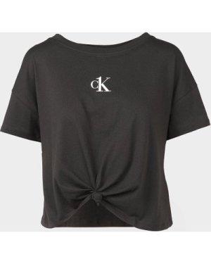 Women's Calvin Klein Jeans Knot Crop T-Shirt Black, Black