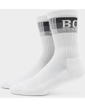 Men's BOSS Stripe Ribbed Socks White, White