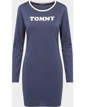 Women's Tommy Hilfiger Underwear Long Sleeve Night Dress Blue, Navy