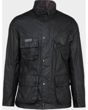 Men's Barbour International Slim Wax Jacket Black, Black