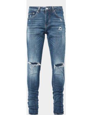 Men's Represent Knee Patch Skinny Jeans Blue, Blue