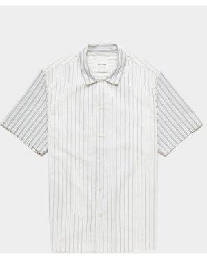 Men's Wood Wood Brandon Stripe Short Sleeve Shirt White, White
