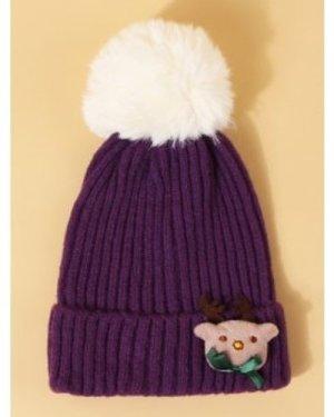 Christmas Elk Design Knitted Pom Pom Hat