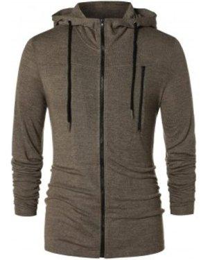 Long Sleeve Zipper Drawstring Hoodie