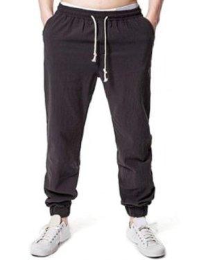 Solid Casual Drawstring Jogger Pants