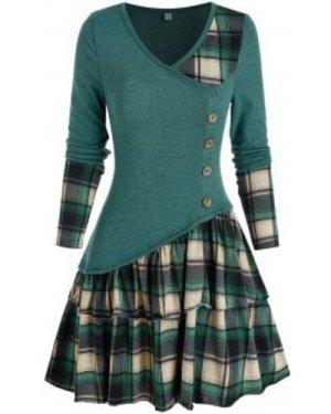 Plaid Colorblock Button Asymmetric Layered Dress