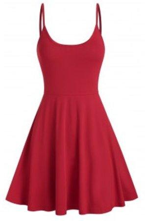 Spaghetti Strap Plain Flare Dress