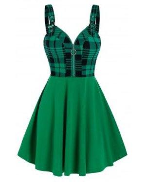 Sleeveless Plaid Print Half Zip Dress