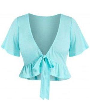 Plus Size Plunging Neckline Tie Front Flounce Top