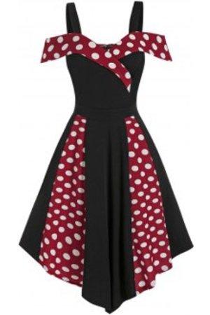 Open Shoulder Contrast Polka Dot Print High Waist Vintage Dress