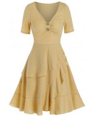 V Neck Ruched Layered Flounce Mini Asymmetrical Dress