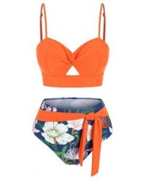 Twist Floral Print Knotted Bikini Swimwear