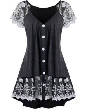 Plus Size Floral Lace Panel Button T Shirt