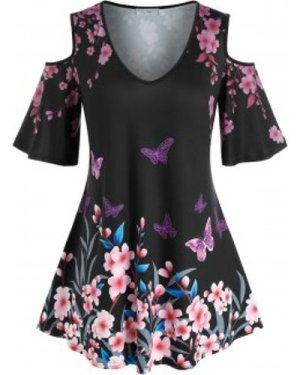 Plus Size Butterfly Flower Print Open Shoulder Tee