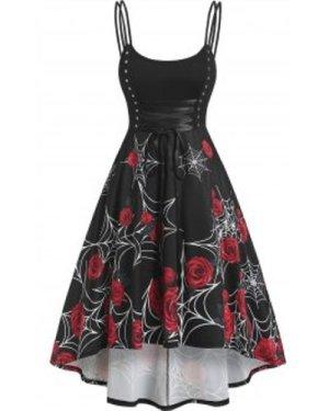 Rose Printed Lace Up Rivet Dress