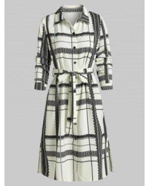 Plaid Print Side Slit Belted Shirt Dress