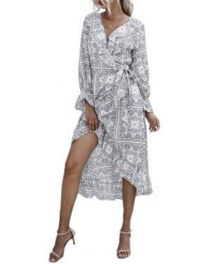 Paisley Flounce Ruffle Cuff Wrap Tie Dress