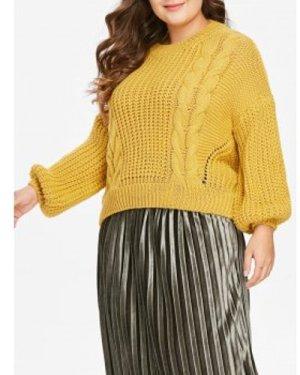 Plus Size Drop Shoulder Cable Knit Sweater