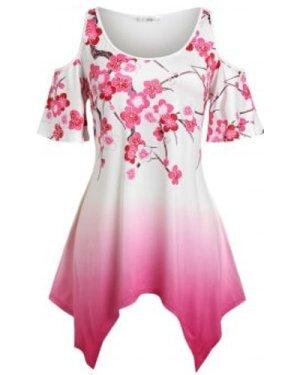 Plus Size Open Shoulder Floral Print Ombre Color Handkerchief Tee