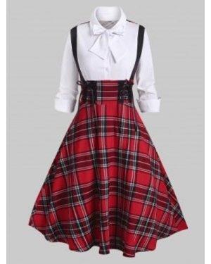 Plaid Lace Up Bowknot Half Button Dress