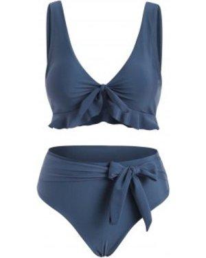 Tied Ruffle Belted Tank Bikini Swimwear