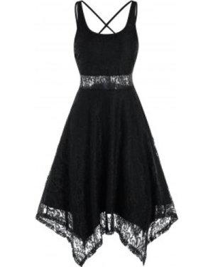 Sleeveless Strappy Handkerchief Lace Dress