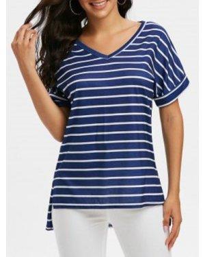 V Neck Striped Side Slit T Shirt