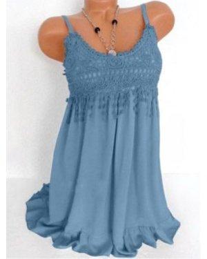 Plus Size Lace Crochet Flounce Tank Top