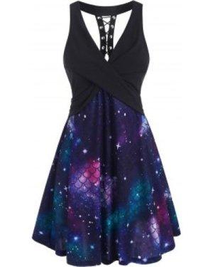 Lace-up Scale Print Mermaid Twist Dress