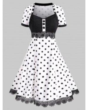 Buttoned Polka Dot Lace Trim Vintage Dress